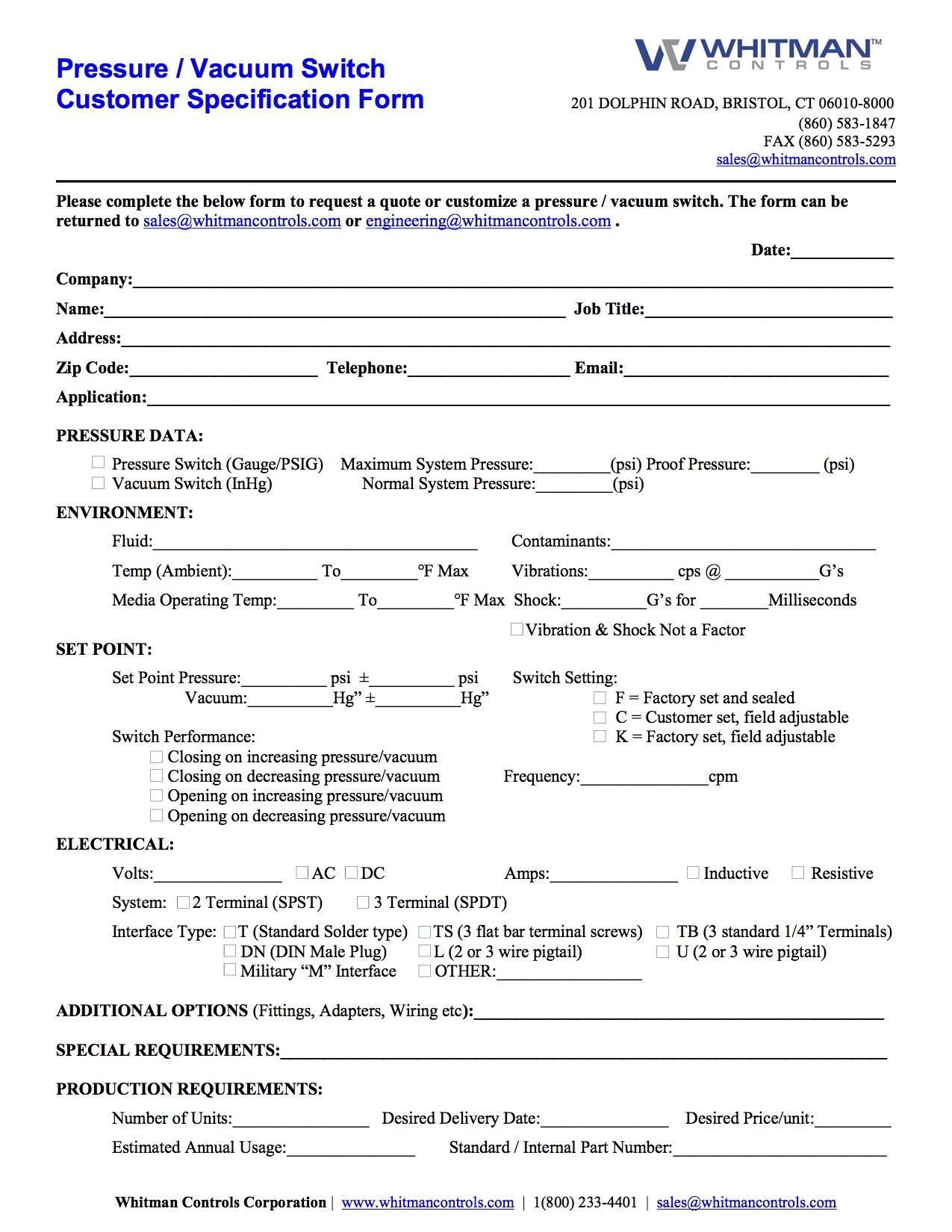 pressure vacuum online customer specification form