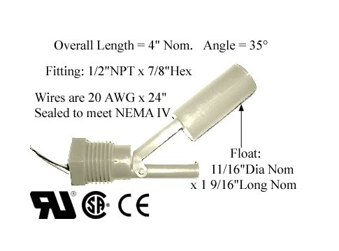L27 Series Side Mounted Kynar Plastic Liquid Level Switch
